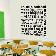 This LEARN vinyl wall decal for schools helps remind students of