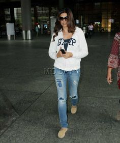 Sushmita Sen at Mumbai airport. #Bollywood #Fashion #Style #Beauty #Hot #Sexy