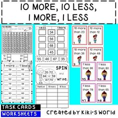 10 more, 10 less, 1 more, 1 less worksheets and task cards*****************************************************************************Worksheets*Count in 10s between 0 and 100.*1 more and 1 less (2 worksheets)*1 more and 1 less cut and paste (2 worksheets)*10 more: color on number chart and write answer (2 worksheets)*10 less: color on number chart and write answer (2 worksheets)*10 more/10 less worksheet*Spin and write: 10 more/10 less (2 worksheets)*1 more, 1 less, 10 more, 10 less (2…
