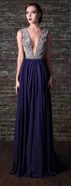 Deep-V Purple Gown