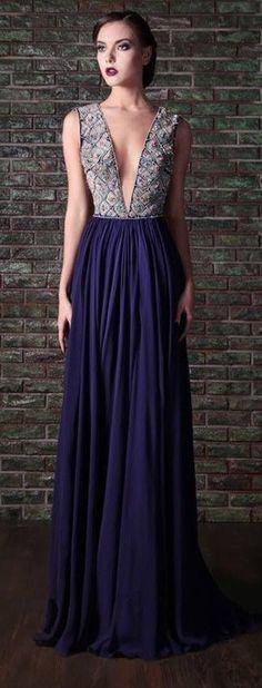 Deep-V Purple Gown