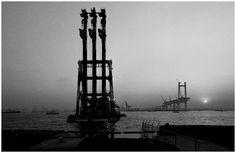 Yokohama Bay Bridge under construction.  Opened to traffic in 1989.
