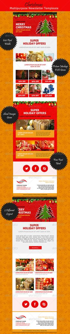 Creative Email Templates - Sokolov Email templates, Template and - holiday newsletter template