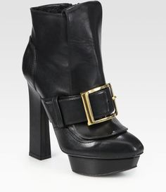 Alexander McQueen Puritan Leather Buckle Ankle Boots - Lyst