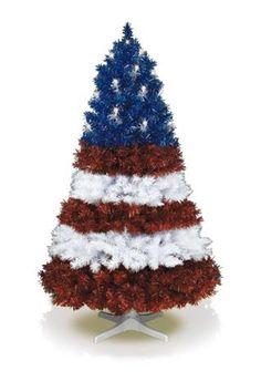Patriotic Christmas Tree... use lights