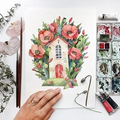 Watercolor Projects, Watercolor Artists, Watercolour Painting, Watercolor Flowers, Painting & Drawing, Watercolors, Art And Illustration, Ink Illustrations, Watercolor Illustration