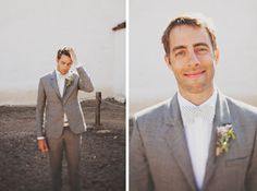 Grey groom suit with stripey bowtie