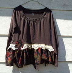 Upcycled Clothing / knit top with bustle back by CuriousOrangeCat, $65.00