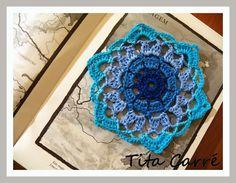 Tita Carré - Agulha e Tricot : Motivo em crochet Azuis...