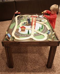 Table for kids- be cute to make a little town for the girls- or for their ponies