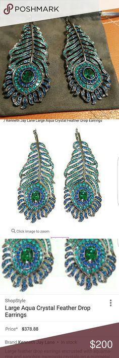 Kenneth Jay Lane Aqua Crystal Feather Drop Earring Beautiful brand new peacock feather earrings. Kenneth Jay Lane Jewelry Earrings