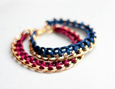Gold Chain Braided Bracelet Navy Blue Monaco Blue by daimblond,