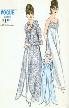 1960s Vogue 6430 Vintage Sewing Pattern GLAMOROUS Portrait Collar Dressing Gown, Peignoir Robe, Negligee Wear it as Evening Coat Bust 38 Vntage Sewing Pattern