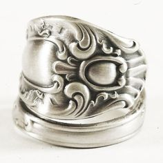 Edwardian Rococo Sterling Silver Spoon Ring Handmade & by Spoonier