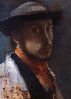 """Self Portrait in a Soft Hat"" by Edgar Degas (1858) via Wikipaintings."