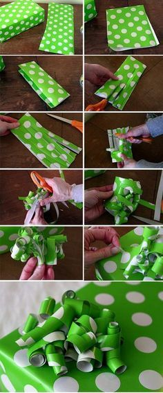 I've been doing this for ages and I get so many compliments from it - turn wrapping paper scraps into bows instead. Always coordinates with the paper, cheaper than buying bows from the store, and uses up those stupid little scraps you're always left with!