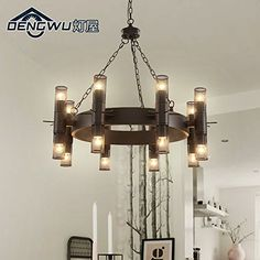 KHSKX Vintage Industrial Chandelier Creative Personality Iron Tassels American Village Hotel Club The Living Room 450600mm Click Imag