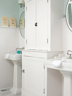 Double Hutch - Reclaim storage lost in a change to stylish pedestal sinks by adding a substantial hutch. A tall hutch like this one offers double the storage. Or, if you?re looking to add in some counter space, use a sink-height hutch.
