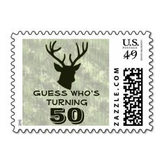 Hunting Mens Buck Head Animal Birthday Party Funny Stamps Your friends will love this funny animal country mens birthday party product. Personalize this unique wildlife celebrations stamp for your outdoors man, sportsman or hunting guide big over the hill birthday party! Great for any party - a mans 20th , 30th , 40th , 50th , 60th , 70th birthday or any other age! This stamp features a buck head with antlers in green with a green camo background.
