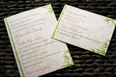 tropical themed wedding invitations on pearl cardstock, designed by @Allison Craig of www.sylviarosedesign.com