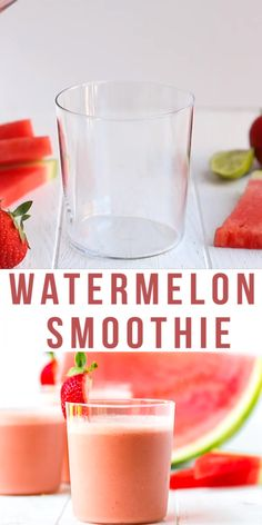 Easy Watermelon Smoothie Recipe – simple, light, sweet and refreshing drink, made in two minutes with just five simple ingredients. Perfect for summer!  #smoothie #watermelon #strawberry