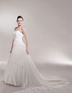 A-line/Princess Side-Draped Cathedral Train Luxury Wedding Dress with Beaded Appliques