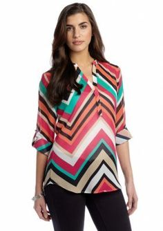 New Directions  Chevron Popover Blouse