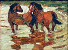 Franz Marc: Zwei Pferde in der Schwemme. Art Print, Canvas on Stretcher Franz Marc, Painted Horses, Cavalier Bleu, George Grosz, Wassily Kandinsky, Equine Art, Horse Love, Horse Art, Art Reproductions