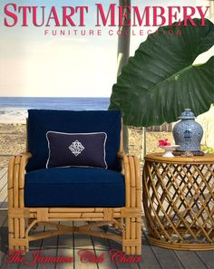 The JAMAICA CLUB CHAIR  & The OUTRIGGER DRUM TABLE MADE FROM VINTAGE RATTAN. AVAILABLE COLORS: NATURAL (pictured) WALNUT (pictured) & DAR...