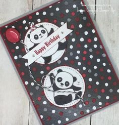 Stampin' Up! Petal Passion Party Pandas Sneak Peek – Stamps – n – Lingers Kids Birthday Cards, Handmade Birthday Cards, Funny Cards, Cute Cards, Panda Party, Passion Parties, Stamping Up Cards, Animal Cards, Kids Cards