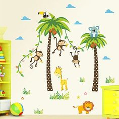 $3.99  - Witkey Cartoon Forest Animal Monkey Crow Koala Coconut Palm Tree Nursery Wall Stickers Murals DIY Posters Vinyl Removable Art Home Decals for Kids Girls Room Decoration ** You can find out more details at the link of the image. (This is an affiliate link) #WallStickersMurals