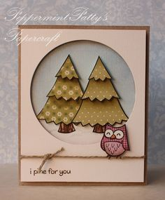 handcrafted card ... paper pieced trees and owl ... adorable image from Lawn Fawn ...