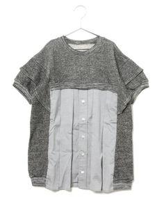 gomme ENFANT(ゴムアンファン)のシャツ開フィンワンピース(ワンピース)|トップグレー