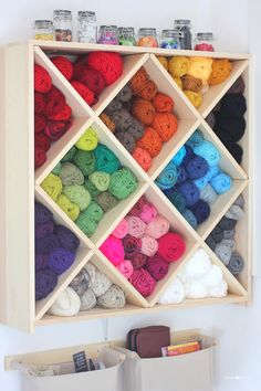 Beautiful and creative yarn storage ideas from blogger Repeat Crafter Me.