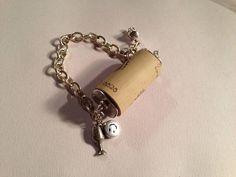 Wine Cork Bracelet Wine Cork Jewelry Silver Charm by cdjali, $16.00