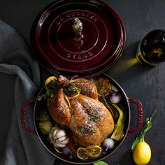 This spring roast chicken recipe features a compound butter—softened butter combined with herbs, lemon zest and garlic—that includes spring onions.