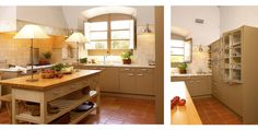 Vintage style slab doors painted to coordinate with terracotta floor. Notice the placement of the dishwasher raised up with two drawers below and microwave above (photo right).   DEULONDER
