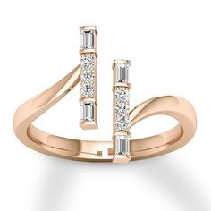 Diamond Ring ct tw Round/Baguette Rose Gold - 120684509 - Jared - August 17 2019 at Diamond Rings, Diamond Jewelry, Gold Jewelry, Jewelry Rings, Fine Jewelry, Rose Gold Rings, Halo Rings, Jewelry Sets, Silver Ring