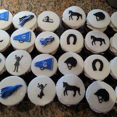 Horseback and Cheerleading Cupcakes - Pink Sugar Cupcakes Cheerleading Cupcakes, Sugar Cake, Pink Sugar, Cake Baking, No Bake Cake, Cupcake Cakes, Spirit, Decorations, Cookies