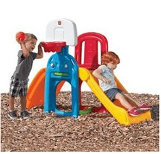 Backyard climbing toys build confidence muscles and motor skills. This sport climber from Step2 is a multi-purpose activity center. Basketball, soccer, crawling, tossing and climbing will make this the focus of activity this outdoor season. This is an affordable purchase saving you from having to get anything else.