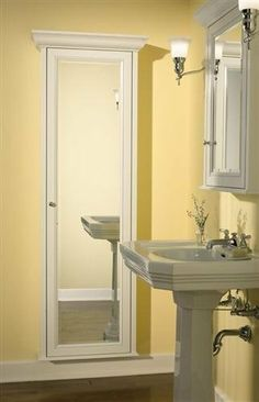 43 Ideas Bathroom Storage Furniture Full Length Mirrors For 2019 Pantry Storage Cabinet, Bedroom Storage Cabinets, Mirror Cabinets, Door Storage, Bathroom Storage, Bathroom Cabinets, Home Depot Bathroom Vanity, Master Bathroom, Bungalow Bathroom