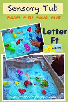 My Little Sonbeam: October Week 2 - alphabet letter F sensory tub. F is for foam, fish, fishing, five and four. Craft and activities for letter Ff. mylittlesonbeam.blogspot.com Follow on Facebook Homeschool preschool learning activities for 2,3,4 year olds.