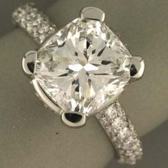 Cushion Cut Diamond Engagement Rings On The Hand 37