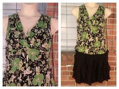 Style & Co green/yellow/black floral print 12 $10; INC silk short black skirt, lined 14 $10
