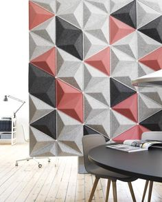 Scala is made of an acoustic pressed felt which helps create a softer soundscape within the office. Scala is available as a wall panel or suspeneded acoustic ceiling canopy. Acoustic Wall Panels, 3d Wall Panels, Acustic Panels, Ideas Paneles, 3d Wandplatten, Acoustic Baffles, Acoustic Design, Indoor Outdoor Furniture, Bureau Design