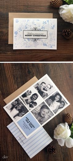 Icy blue floral holiday card with multiple photos by Catherine Kiff-Vozza, Couture Stationer #ckv