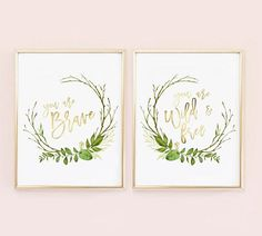 Nursery Decor Wild and free, Boho Nursery, Greenery Nursery Decor, You are Brave, You are Wild and F Boho Nursery, Nursery Prints, Nursery Wall Art, Wall Art Prints, Nursery Decor, Room Decor, Nursery Room, Nursery Ideas, Room Ideas