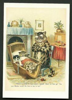 LOUIS WAIN POSTCARD/SCARCE/1998/Mother Cat and Babies   #161628356