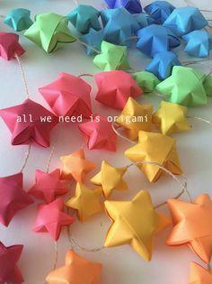 12 feet BABY NURSERY RAINBOW garland - baby decoration - rainbow stars - rainbow shower - origami garland by Allweneedisorigami on Etsy. $29.00, via Etsy.