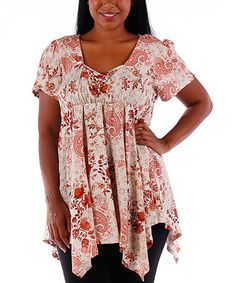 Look at this #zulilyfind! Rust & White Paisley Handkerchief Top - Plus #zulilyfinds